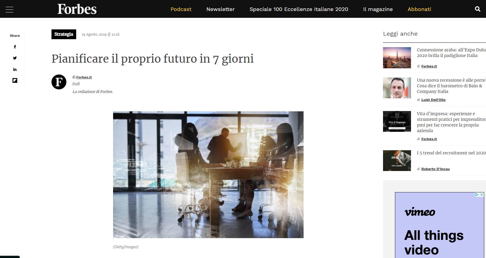 Forbes.it – Pianificare il proprio futuro in 7 giorni